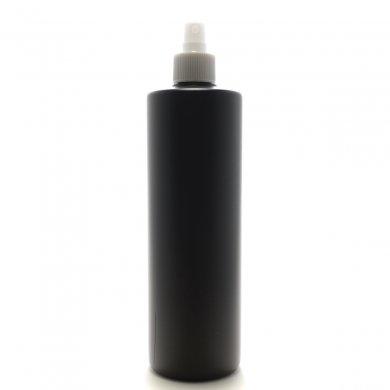スプレーボトル 500mL PE 遮光黒 ストレートボトル [ ホワイトフィンガースプレー ]