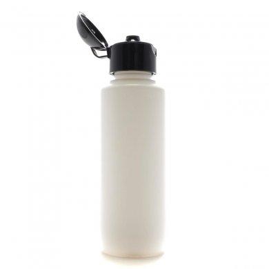 プラスチック容器 100ml PE ホワイト ストレートボトル【ヒンジキャップ:ブラック(ドーム型)】※パッキン…