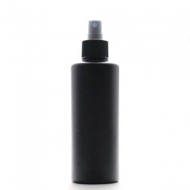スプレーボトル 200ml PE ストレートボトル [ ボトル:遮光黒 / スプレー:ブラック ]