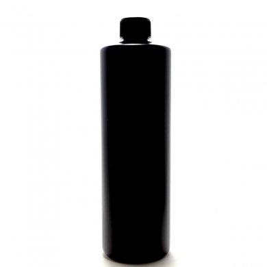 プラスチック容器 500ml PE ストレートボトル [ ボトル:遮光黒 / スクリューキャップ:ブラック / 中栓付 ]