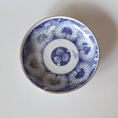 染付印判 花柄の小皿12.6cm