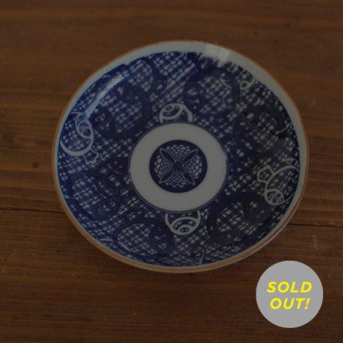 染付印判 小槌/幾何学模様の小皿13cm