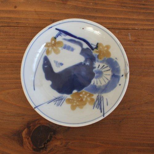 染付 梅と家、風景のような絵柄の小皿13cm