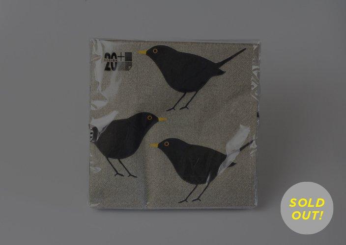 Design20 + Sweden ABのクロウタドリの絵柄の紙ナプキン