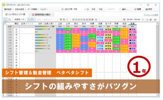 【ペタペタシフト】1年ライセンス