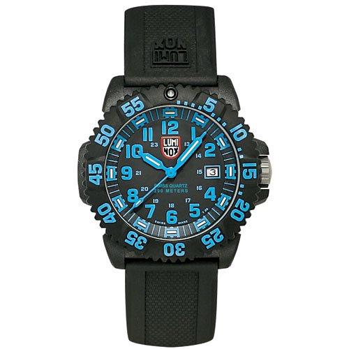 ルミノックス Luminox EVO Navy Seal Mens 3050 Colormark Series Dive Watch with Rubber Band Black/Red