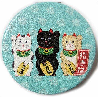 和柄コンパクトミラー/招き猫