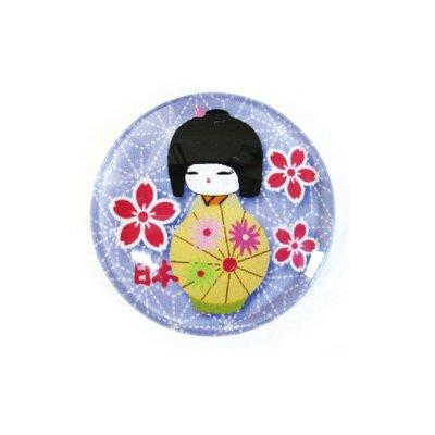 ガラスマグネット/こけし・傘 紫