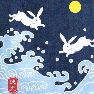 オリジナル和柄トートバッグ/波兎(デニム)