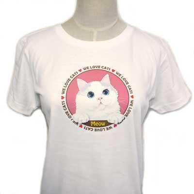 【レディース】オリジナルTシャツ・ネコ/Meow(ミャオ)