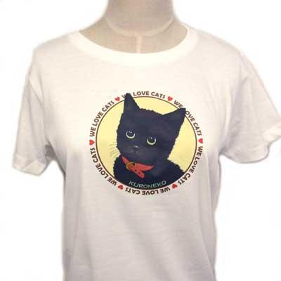 【レディース】オリジナルTシャツ・ネコ/Black(黒猫)