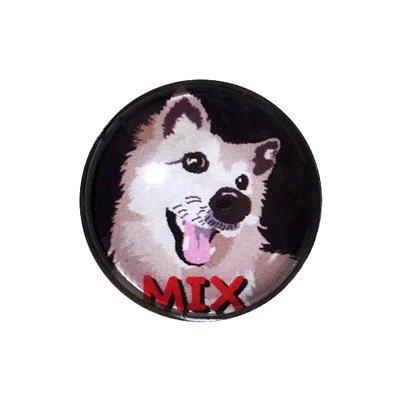 20mmガラスピンバッジ・犬/MIX(BK)