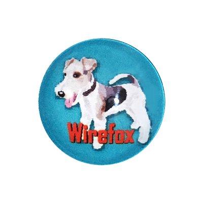 20mmガラスピンバッジ・犬/ワイヤーフォックス2(GR)