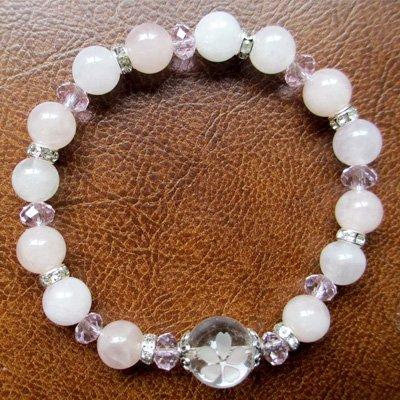 天然石桜ブレスS-6(ローズクォーツ)