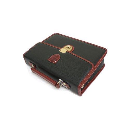 (ブレザークラブ) BLAZER CLUB 合皮かぶせ付きセカンドバッグ 27cm 錠前付き 国産 25368 (クロ(01))