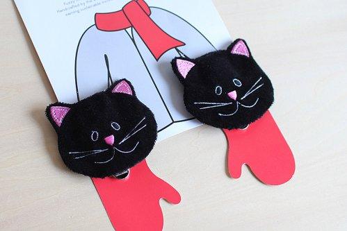 黒ネコのミトンクリップ