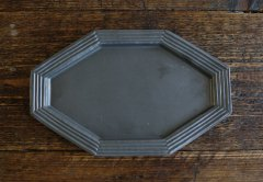 八角ボーダーリム皿(黒マット)