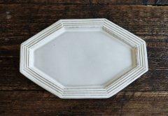 八角ボーダーリム皿(ライトグレー)