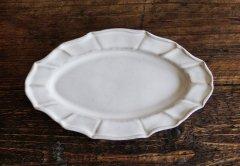 花リムオーバル皿(ライトグレー)