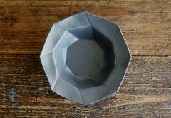 八角スパイラル皿(黒マット)