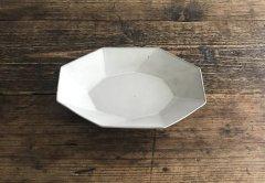 八角スパイラルオーバル鉢(ライトグレー)