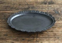 カメオオーバル皿(黒マット)