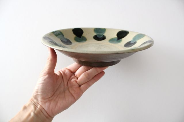 7寸皿 【蛇の目】 三彩点打 呉須オーグスヤ 陶器 漂窯 やちむん 画像6