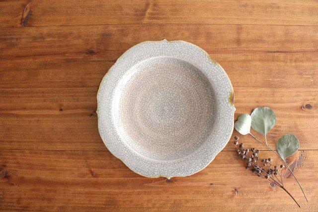 6寸輪花皿 墨入貫入 陶器 はなクラフト