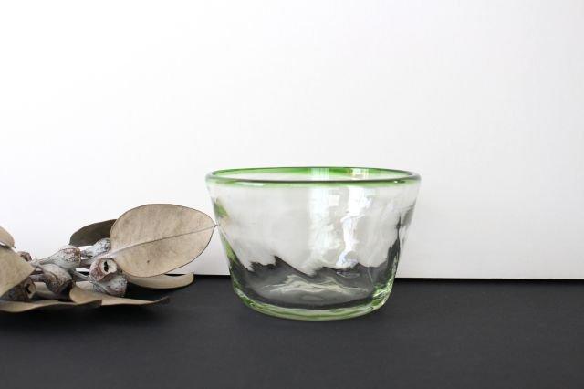小鉢 モールあり 緑 ガラス 奥原硝子製造所