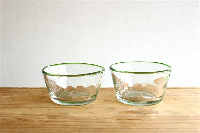 小鉢 モールあり 緑 ガラス 奥原硝子製造所 画像2