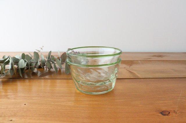 小鉢 モールあり 緑 ガラス 奥原硝子製造所 画像4