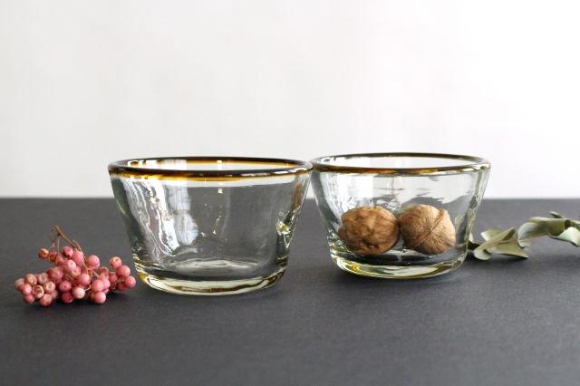 小鉢 モールあり 茶色 ガラス 奥原硝子製造所 画像4