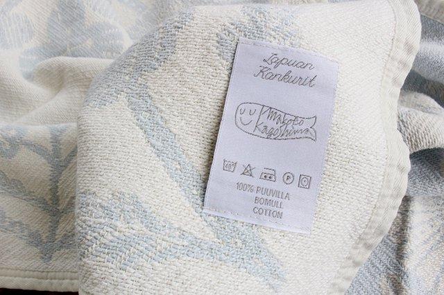 LAPUAN KANKURIT(ラプアン カンクリ)× 鹿児島睦  コットンブランケット white-blue 65×90cm 画像3