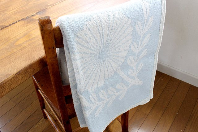 LAPUAN KANKURIT(ラプアン カンクリ)× 鹿児島睦  コットンブランケット white-blue 90×140cm