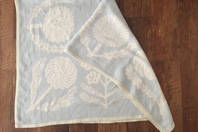 LAPUAN KANKURIT(ラプアン カンクリ)× 鹿児島睦  コットンブランケット white-blue 90×140cm 画像3