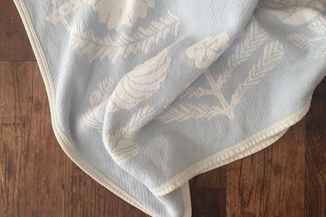 LAPUAN KANKURIT(ラプアン カンクリ)× 鹿児島睦  コットンブランケット white-blue 90×140cm 画像4