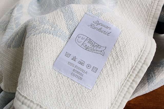 LAPUAN KANKURIT(ラプアン カンクリ)× 鹿児島睦  コットンブランケット white-blue 90×140cm 画像5