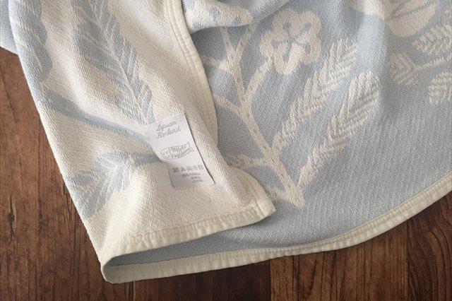 LAPUAN KANKURIT(ラプアン カンクリ)× 鹿児島睦  コットンブランケット white-blue 90×140cm 画像6