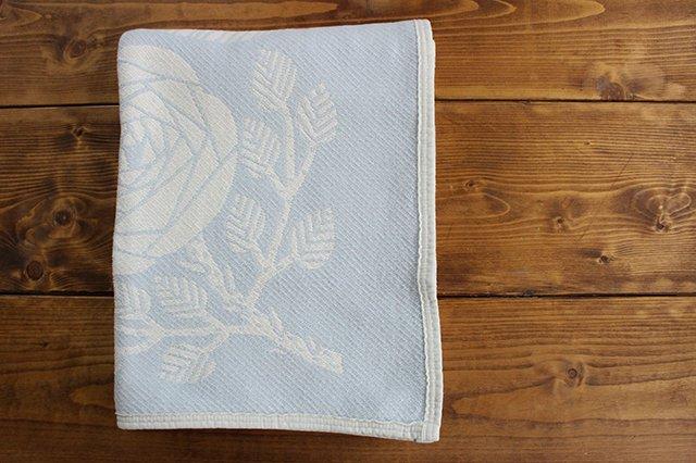 LAPUAN KANKURIT(ラプアン カンクリ)× 鹿児島睦  コットンブランケット white-blue 140×180cm