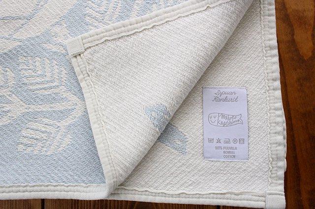 LAPUAN KANKURIT(ラプアン カンクリ)× 鹿児島睦  コットンブランケット white-blue 140×180cm 画像3