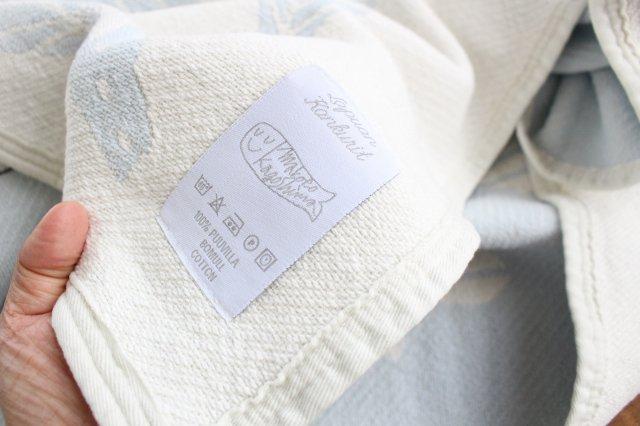 LAPUAN KANKURIT(ラプアン カンクリ)× 鹿児島睦  コットンブランケット white-blue 140×180cm 画像4