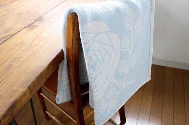 LAPUAN KANKURIT(ラプアン カンクリ)× 鹿児島睦  コットンブランケット white-blue 140×180cm 画像6