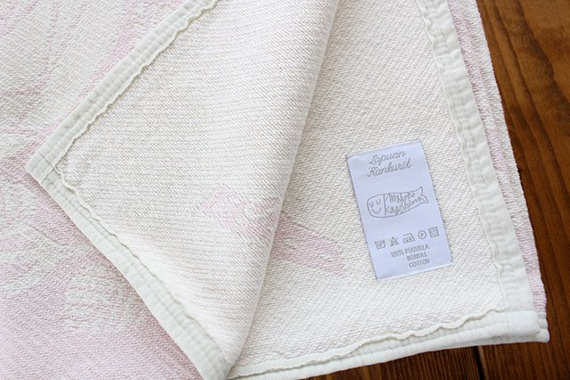 LAPUAN KANKURIT(ラプアン カンクリ)× 鹿児島睦  コットンブランケット white-rosa 140×180cm 画像3