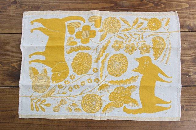 LAPUAN KANKURIT(ラプアン カンクリ)× 鹿児島睦  キッチンタオル  white-yellow 48×70cm
