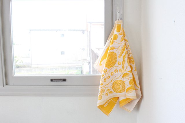LAPUAN KANKURIT(ラプアン カンクリ)× 鹿児島睦  キッチンタオル  white-yellow 48×70cm 画像4