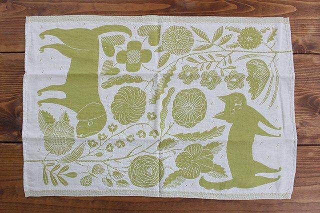 LAPUAN KANKURIT(ラプアン カンクリ)× 鹿児島睦  キッチンタオル  white-green 48×70cm