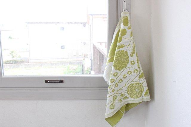 LAPUAN KANKURIT(ラプアン カンクリ)× 鹿児島睦  キッチンタオル  white-green 48×70cm 画像4