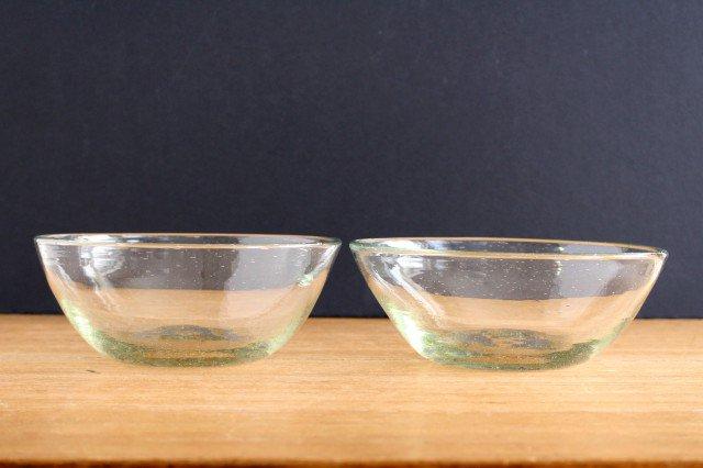 気泡ボウル 中 クリア ガラス ガラス工房 清天 画像2