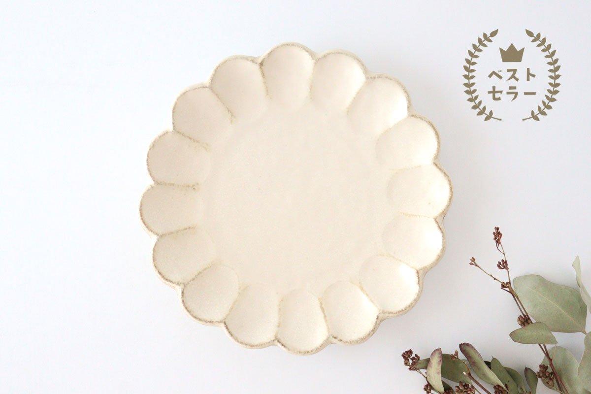 美濃焼 菊花 8寸皿 白 磁器