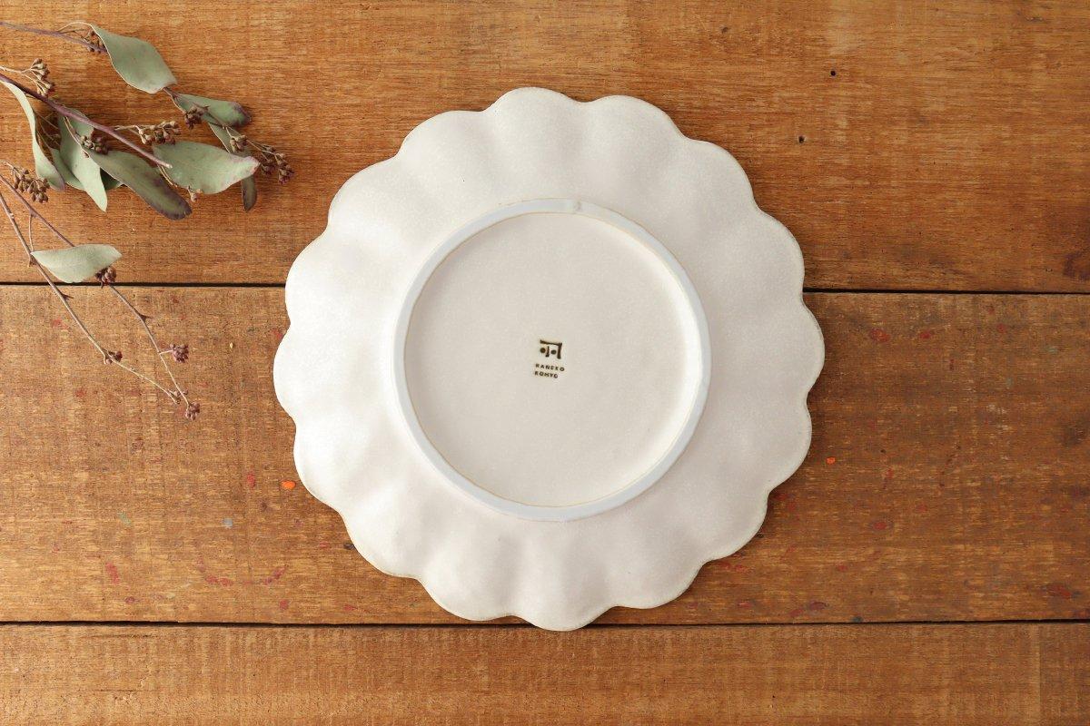 美濃焼 菊花 8寸皿 白 磁器 画像5